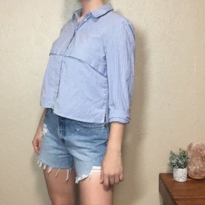 Topshop Cropped Pinstripe Button Up Blue Top